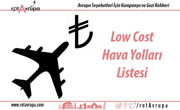 Low Cost Havayolları Listesi