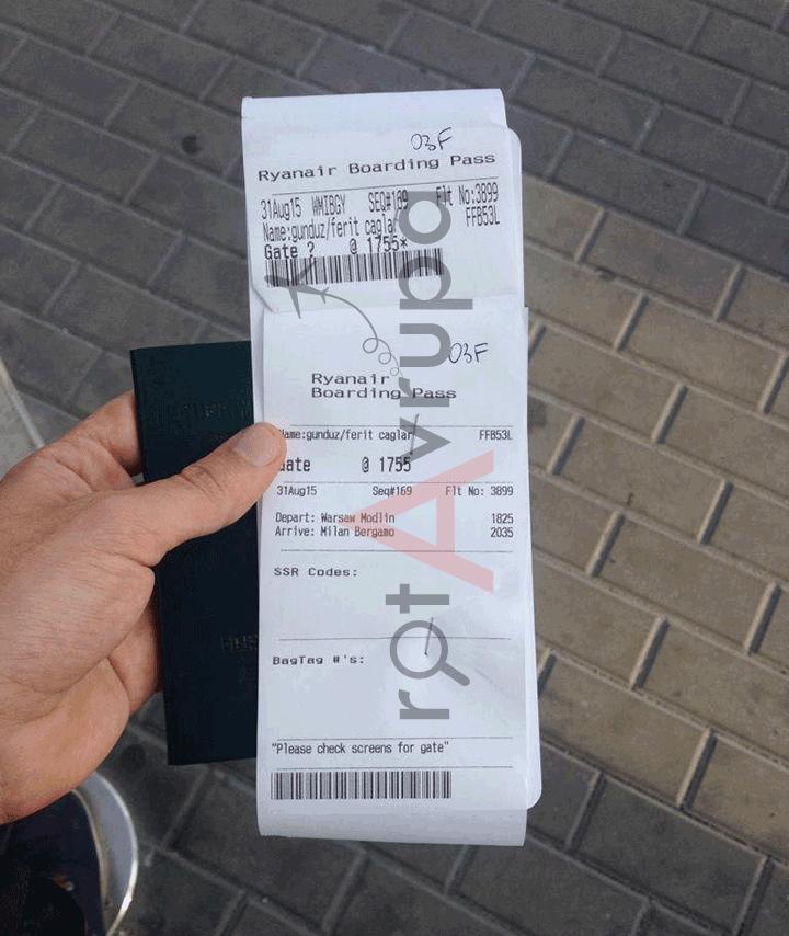 Ryanair uçak bileti diye verdikleri kağıt