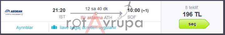 Atina Aktarmalı Sofya Uçak Bileti