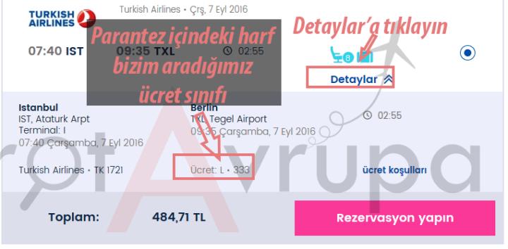 İstanbul - Berlin Mil Ücret Sınıfı