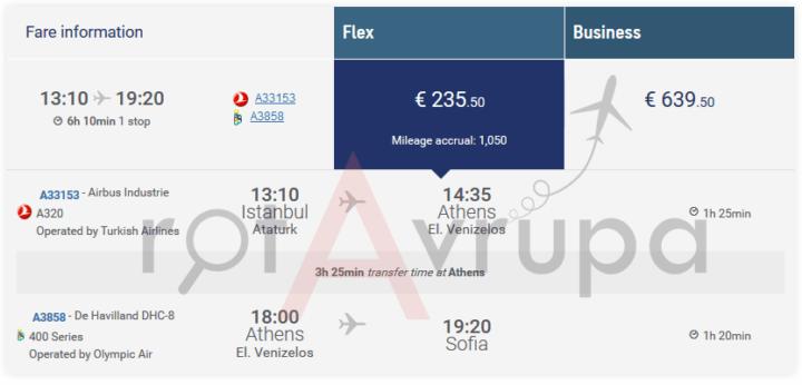 Aegean Air'in sitesindeki bilet