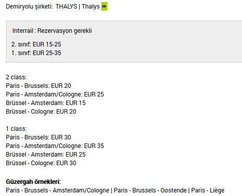 Paris-Brüksel Rezervasyon Ücreti