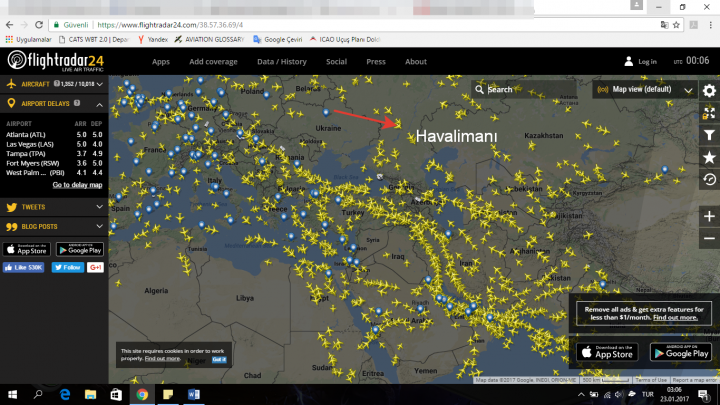 uçakları takip etmek