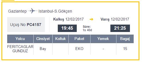 Gaziantep uçak bileti