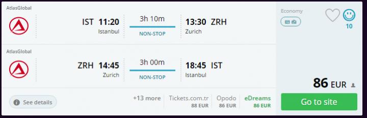Zürih Uçak Bileti