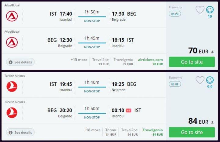 Belgrad'a ucuz uçak bileti
