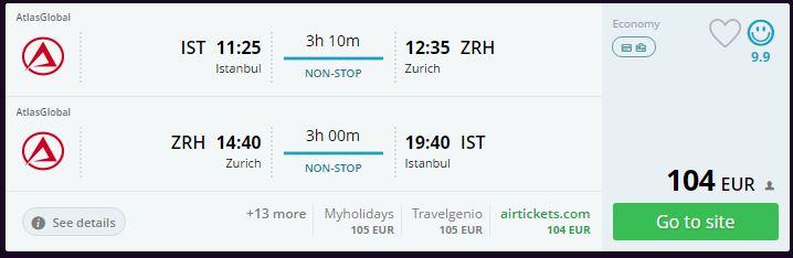 Zürih uçak bileti Atlasglobal