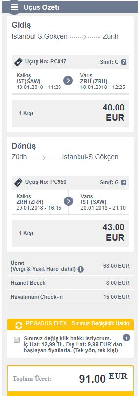 Zürih uçak bileti pegasus