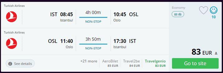 Oslo-Norveç Ucuz Uçak Bileti